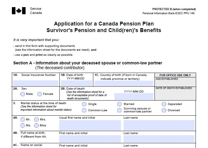 application for a canada pension plan information sheet